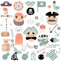 Set of cute piratical and nautical elements. Hand drawn vector illustration