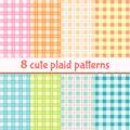Set of cute plaid seamless patterns