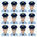 Set of cute police officer woman emoticons.