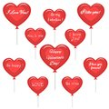 Set of cute red hearts of balloons with different congratulations on Valentine`s Day .