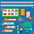 Set of cute scrapbook elements. vector illustration Royalty Free Stock Images