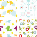 Set of cute seamless patterns Royalty Free Stock Image