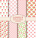 Set of cute seamless patterns. Vector backgrounds. Royalty Free Stock Photo