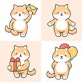 Vector set of cute shiba inu characters