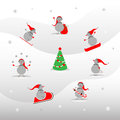 Set of cute snowmen Royalty Free Stock Photo