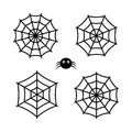 Set of cute spider and cobwebs icons isolated on background. Royalty Free Stock Photo