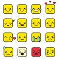 Set of cute square kawaii emojis