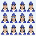 Set of cute stewardess emoticons.