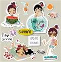 Set with cute summer cartoon girl Royalty Free Stock Photo