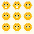 Set of cute sun emoticons.