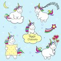Set of cute unicorn icons, rainbow and stars, child illustration, cartoon design
