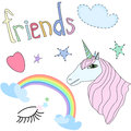 Set of Cute Unicorn, Stars, Rainbow,Heart on White Background Vector Illustration