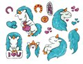 Set of cute unicorns for stickers. marker art on white background