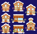 Set of Cute Vector Holiday Gingerbread Houses, Shops and Other Buildings