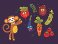 Set of cute vegetables monsters and a monkey vector illustration for your background Royalty Free Stock Images