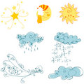 Set of cute weather elements Stock Photography