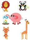 A set of cute wild animals for kids Stock Photos