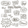 Set of cute words in doodle style. Cartoon speech bubble collection. Handdrawn comic design. Vector badges and patches
