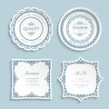 Set of cutout paper frames with border ornament Royalty Free Stock Photo