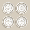 Set of cutout paper labels with ornamental border