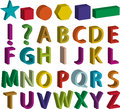 Set of 3d alphabet letters, basic shapes and punctuation marks