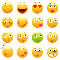 Set of 3d cute Emoticons. Emoji and Smile icons. on white background. vector illustration.
