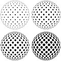 Set of 3D globe ball, dots circles pattern on the surface of the sphere, vector polka dot pattern on the surface of the ball