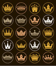 Set of 3d golden royal crowns isolated. Majestic classic symbols Royalty Free Stock Photo