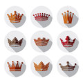 Set of 3d golden royal crowns isolated. Majestic Royalty Free Stock Photo