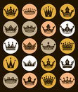 Set of 3d golden royal crowns isolated. Majestic classic Royalty Free Stock Photo