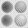 Set Of 3D Halftone Dots Sphere...
