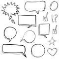 Set 3d hand drawn icons: check mark, star, heart, speech bubbles. VECTOR. Black Royalty Free Stock Photo