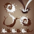 Set 3D illustrations, splashes and drops of melted dark chocolate, hot coffee and milk flow mixed Royalty Free Stock Photo
