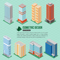 Set of 3d isometric tall buildings icons for map building. Real estate concept. Royalty Free Stock Photo