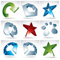 Set of d mesh colorful abstract objects on white background collection stylish geometric icons bright dimensional tech symbols Stock Image