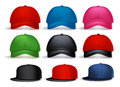 Set of 3D Realistic Baseball Cap for Man with Variety of Colors