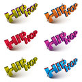 Set of 3d shattered vector hip hop words created with refraction