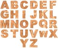 Set of 3D wooden English alphabet letters and Numbers from zero to nine isolated on white background.