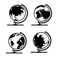 Set of d world map or globe series with stand Stock Photography