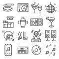 Set of dancing, dj, music, disco vector line icons