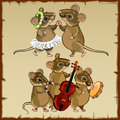 Set of dancing mice and musicians Royalty Free Stock Photo