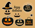 Set Dark Jack lantern pumpkin Happy Halloween jackolantern. Vector illustration isolated on gold background. Royalty Free Stock Photo