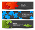 Set of dark puzzle horizontal banners Royalty Free Stock Images