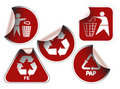 Set of dark red labels Royalty Free Stock Images
