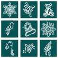 Set of deco ornamental winter objects vector patterned design Royalty Free Stock Image