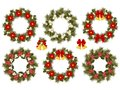 Set of decorated Christmas crowns Royalty Free Stock Photo