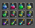 Set of decoration icons for games. Bottles of potion. Royalty Free Stock Photo