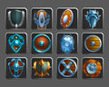 Set of decoration icons for games. Collection of medieval shields. Royalty Free Stock Photo