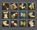 Set of decoration icons for games. Collection of scrolls, parchments, maps.