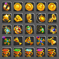 Set of decoration icons for games. Golden reward, treasure, achievement and token. Royalty Free Stock Photo